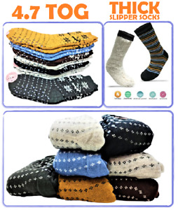 MENS 3 Pair 4.7 Tog Thermal Fleece Socks Sherpa Lining Lounge Slipper Bed Socks