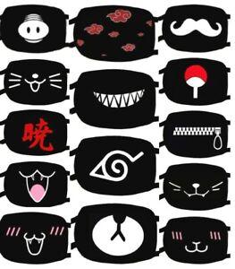 Cloth Face Mask Cartoon Anime Funny Expression Cotton Washable Reusable Black