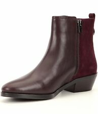 NEW COACH SZ 6 CARMEN BURGUNDY  LEATHER/SUEDE ANKLE BOOTIE  HEEL OXBLOOD
