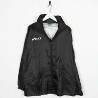 Vintage ASICS Small Logo Zip Up Soft Shell Anorak Cagoule Jacket Black |Medium M