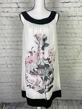 CONNECTED APPAREL Ladies size 10 Pretty White &Black Floral PRINT Dress