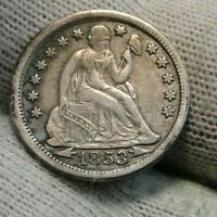 1853 Seated Liberty Dime, 10 Cents.. Very Nice Coin, Free Shipping (57)