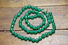 Emerald Green 6mm Ball Natural Gemstone Necklace 925 Sterling Silver Clasp 19.5