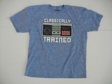 NINTENDO NES Blue Video Game Gamer CLASSICALLY TRAINED T-SHIRT Size Men's XL