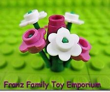 New LEGO Pink/White FLOWER Bouquet with Green 3 Stem Plants 9 Piece Lot