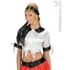Ladies Black Satin Sash Or Headwrap Sexy Secretary Pirate Fancy Dress