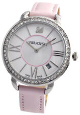 NEW WOMEN'S SWAROVSKI AILA DAY ROSE PINK LEATHER STRAP CRYSTAL Watch Gift