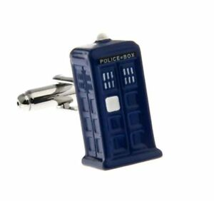 Doctor Who Tardis Police Box Retro 3D Cufflinks Christmas Gift for Dad / Boss