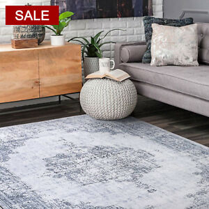 Large Floor Rug Gray Floral Persian Distressed Traditional Vintage Carpet Mat