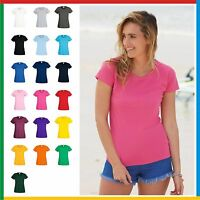 5 PACK x LADIES 100% COTTON T-SHIRT - FRUIT of the LOOM PLAIN T SHIRT Womens
