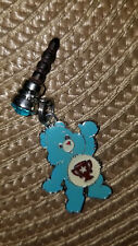 blue care bear trophy on belly charm dust Plug cell phone charm