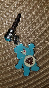 blue care bear trophy on belly charm dust Plug cell phone charm