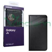 Custodia originale Flip Wallet NERA Samsung per Galaxy J5 J500F cover pelle nero
