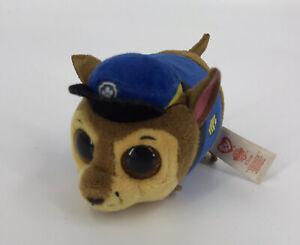 "TY Teeny Tys Paw Patrol Chase Shepherd Dog Plus Stuffed 4"" x 2.5"" EUC Tsum Tsum"