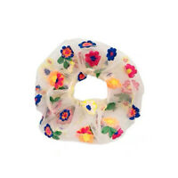 Flower Hair Rope Ties Scrunchies Girls Rubber Band Ponytail Holder (White) #JT1