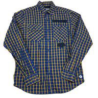 10 Deep Plaid Long Sleeve Button Up Shirt, Blue Orange Black, Size Medium