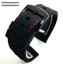 Black Rubber Silicone Replacement Watch Band Strap Buckle Red Stitching #4006