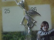 Walking Dead Daryl Crossbow Bow Arrow Angel Wings Necklace