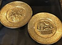 Two Vintage Brass Embossed Wall Hanging Plates England Flowers Fruits In Baskets