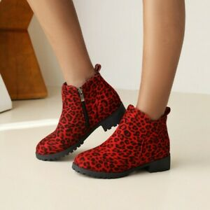 Womens Comfortable Leopard Ankle Boots Low Heel Side Zipper Riding Ankle Boots