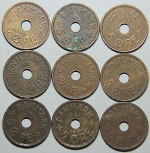 1927-1940 Denmark 5 Ore-9 coin set Lot 3
