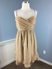 BCBG Generation Brown Gold Shimmer Chiffon Cocktail Party Dress 8 Excellent