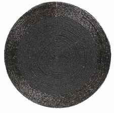 Round Furniture Dining Table Woven Glass Bead Placemat 30cm ~ Black