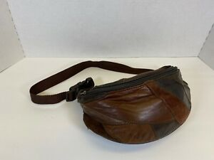 Vintage 90s Boho Hippie Style Fanny Pack Brown Patchwork 2 Zippered Pouches
