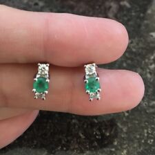 .70ct Emerald Diamond Earrings 14K White Not Scrap Gold 2.4g