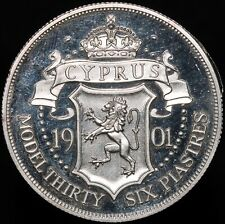 More details for 1901 | cyprus edward vii patina model 36 piastres 'silver piedfort' | km coins
