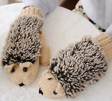 Cute Hedgehog Knitted Gloves / Mittens - Lovely & Warm - One Size - Girl / Woman