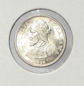 Panama 1916 Silver 5 Centesimos BU GEM Key Date  #062005