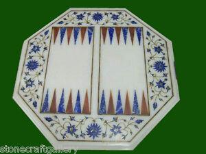 "18"" Marble Backgammon Table Top Inlay Handicraft Work Home Decor"