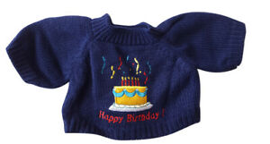 """Sweater Birthday Blue Fits Most 14"""" - 18"""" Build-a-bear and Make Your Own Stuffed"""