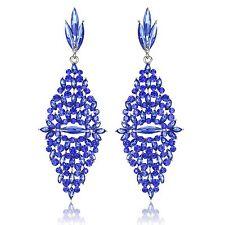 Long Shiny Blue Austrian Crystal Rhinestone Chandelier Dangle Earring Prom E106b