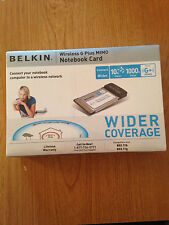 NEW Belkin Wireless G Plus MIMO Notebook Card Sealed