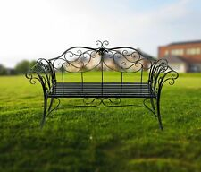 Black Metal Garden Patio Bench 2-3 Seaters Decorative Home Furniture Women Gift