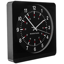 Large 12-Inch Analog Wall Clock w/ Auto-Night Light & Silent Smooth Sweep, Black