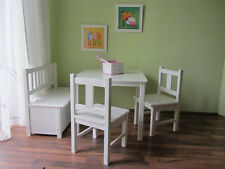 Child Seat 1 x Children's Table 2 High Chair 1 Children White Solid Wood