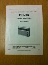 Philips L3G45T Radio Receiver Service Information Sheet- Vintage Radio