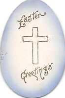 A35/ Easter Postcard Holiday Greetings c1910 Oval Cut Cross Egg 12