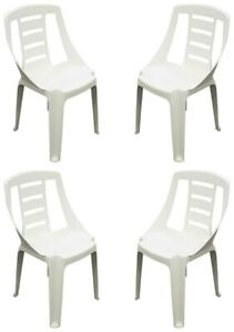 Set Of 4 Plastic Bistro Chairs Garden Chairs Stacking Banqueting Chairs White