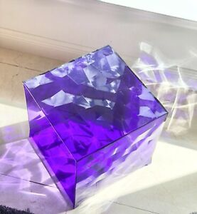 "Kartell — Jouin — Italy OPTIC container CUBE, crystal  PURPLE Display 16"" PMMA"