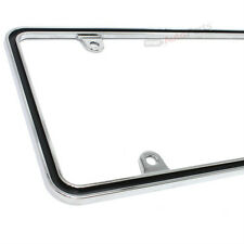 Custom Metal Chrome with Black Thin License Plate Tag Frame for Auto-Car-Truck