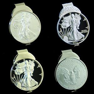 Silver Eagle 1 oz USA American USA Dollar Cut Coin Money Clip Jewelry