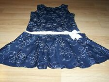 Girls Size 14 Emily West Navy Blue & White Floral Flower Drop Waist Dress EUC