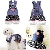 Small Pet Dog Dress Cat Strap Skirt Lovely Dot Puppy Clothes Apparels Coat XS-XL