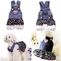 Small Pet Dog Dress Cat Strap Skirt Lovely Dot Puppy Clothes Apparels Coat XS-XL