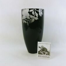 """Black Vase with Frosted Etched Floral Pattern by Design Society 9"""""""