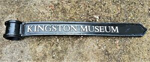 "Vintage London Signpost Cast Metal Direction Sign KINGSTON MUSEUM Size 38x3.5x1"""